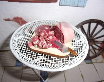 Chopping Block of Meat 4cm x 4cm  1:12th Dolls House Miniature