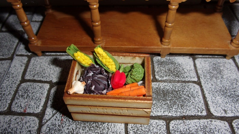Handmade Vegetables in a Crate 1:12th Dolls House Miniature B image 0