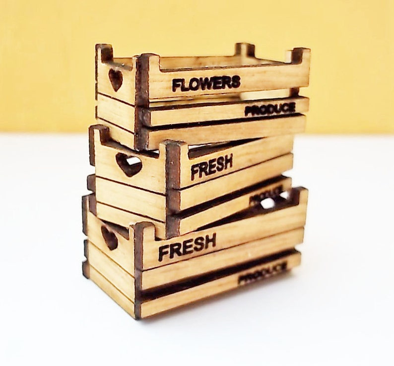 Stacking Flower or Produce Crates Kit 1:24th Dolls House image 0