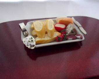 Bread and Cheese Buffet Platter 1:12th Dolls House Food