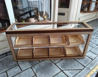 Clear Shop Counter in Light Oak Stain with 8 Removable Drawers 1:12th Dolls House