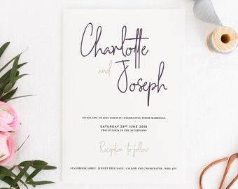 Script Wedding Invitation, Script Invitation, Modern Wedding Invitation, Purple Wedding Invitation, Elegant Invite, Chancery Lane Collection