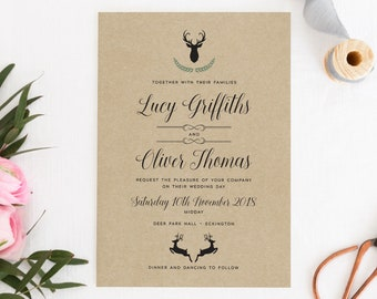 Woodland Wedding Invitation, Rustic Wedding Invitation, Barn Wedding Invitation, Stag Wedding Invitation, Highgate Collection