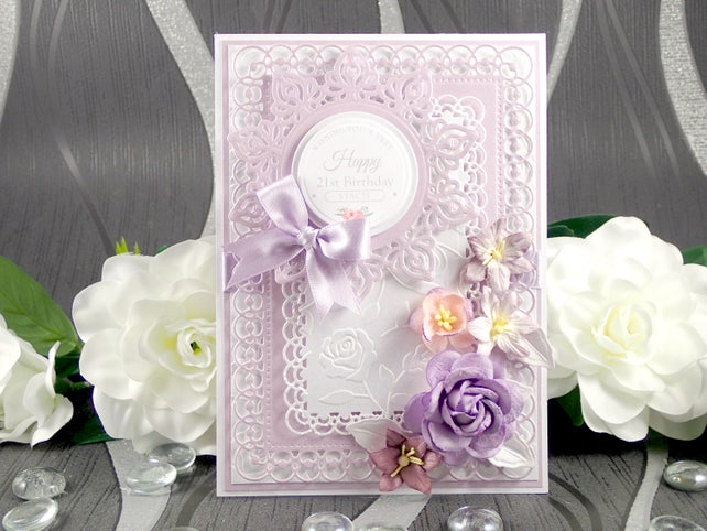 Birthday Card For Her Personalised Luxury Handmade Floral Boxed