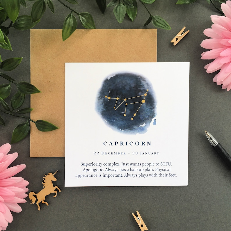 Capricorn Star Sign Card, Constellation Card, Zodiac Birthday Card,  Astrology Card, Signs of the Zodiac, Funny Birthday Card, Horoscope Card