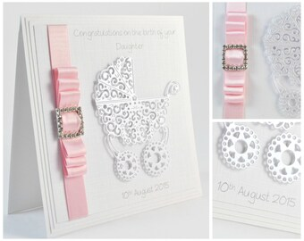 Personalised New Baby Card, Luxury Handmade New Baby Card, New Baby Girl Card, New Baby Boy Card, Christening Card, Baby Shower Card