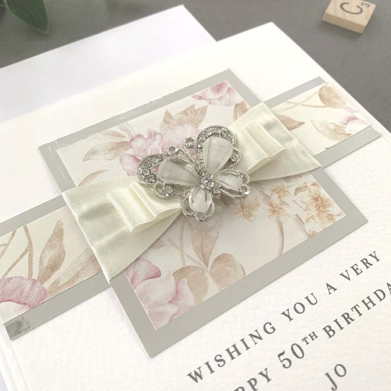 Vintage Birthday Card Simple Birthday Card Personalised Birthday Card 50th Birthday Card Luxury Birthday Card Handmade Birthday Card