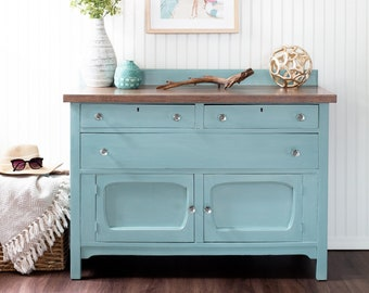 "Vintage Blue Buffet- ""Sea Glass"" Oak Buffet / Console / Bar / Dresser / Storage Cabinet / Coastal Furniture Nautical Furniture Beach House"