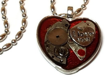 Steampunk Valentine's Day Heart with I Love You Charm, Valentines Day Heart, Steampunk Pendant, I Love You Steampunk Necklace