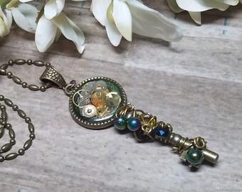 Wire Wrapped Steampunk Key Necklace
