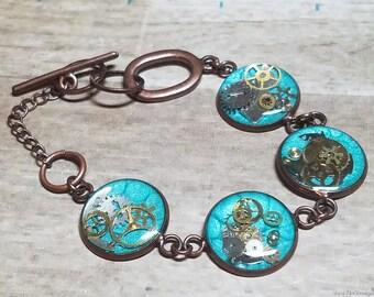 Turquoise Steampunk Bracelet, Blue Steampunk Chain Bracelet