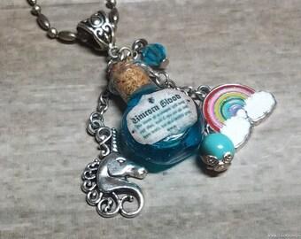 Unicorn Blood Bottle Necklace, Heart Shaped Unicorn Tears Bottle Necklace