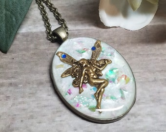 Fire Opal Fairy Necklace, Petrified Fairy in Fire Opal Necklace