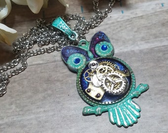 Steampunk Owl with Blue and Purple Rustic Paint, Rustic Steampunk Owl Pendant Necklace