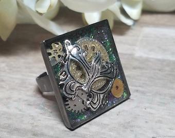 Mardi Gras Steampunk Ring, Steampunk Mardi Gras Ring