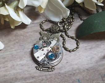 Steampunk Owl Necklace, Watch Movement Owl