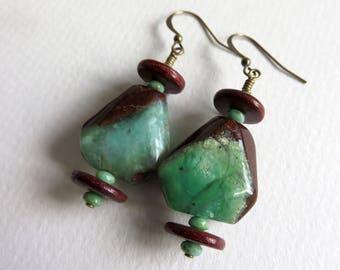 Earrings, Gemstone Earrings, Wood and Gemstone Earrings, Chrysoprase Earrings, OOAK Earrings, Rustic Earrings, Drop Earrings, Boho Earrings