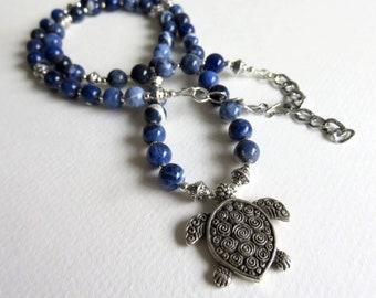 Gemstone Necklace, Sodalite Necklace, Turtle Necklace, Beaded Necklace, Spirit Necklace, Blue Necklace, Boho Necklace, Statement Necklace
