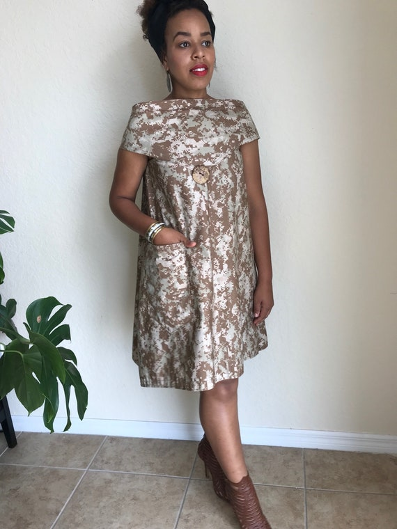 Oversized Army fatigue print dress / Low Back and boat neck/ Boho  Dress/Assymetrical /Plus Size/ Loose Fit/ Sm - Med Top