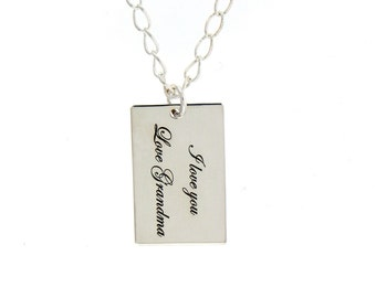 Personalized Sterling Silver Rectangular Necklace