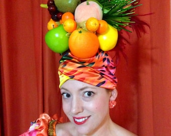 Deluxe Fruit hoofdtooi, Carmen Miranda Tutti fruitige hoed, 1940 's Hollywood kostuum, Mardi Gras kostuum, Chiquita Banana hoed