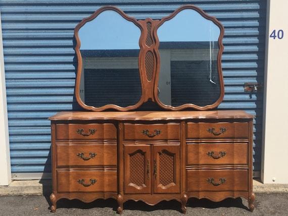 gorgeous large vintage bassett french triple 9 drawer dresser etsy