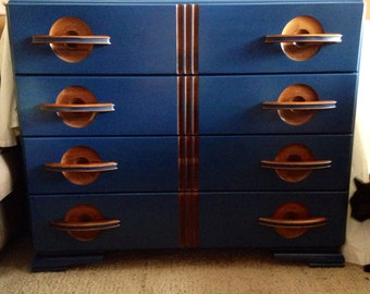 SOLD!! Vintage 4 Drawer Dresser-Deep Blue