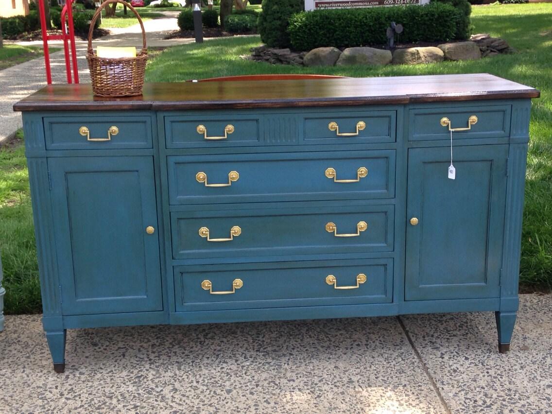 Fresh SOLD!! Deep Blue Chalk Painted Dresser Buffet Credenza with Walnut Top RW61
