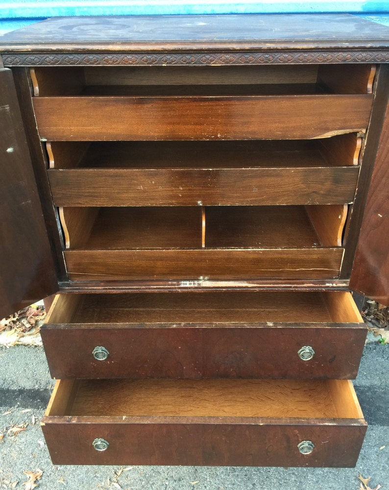 Vintage Tall Bureau Chest of Drawers Armoire