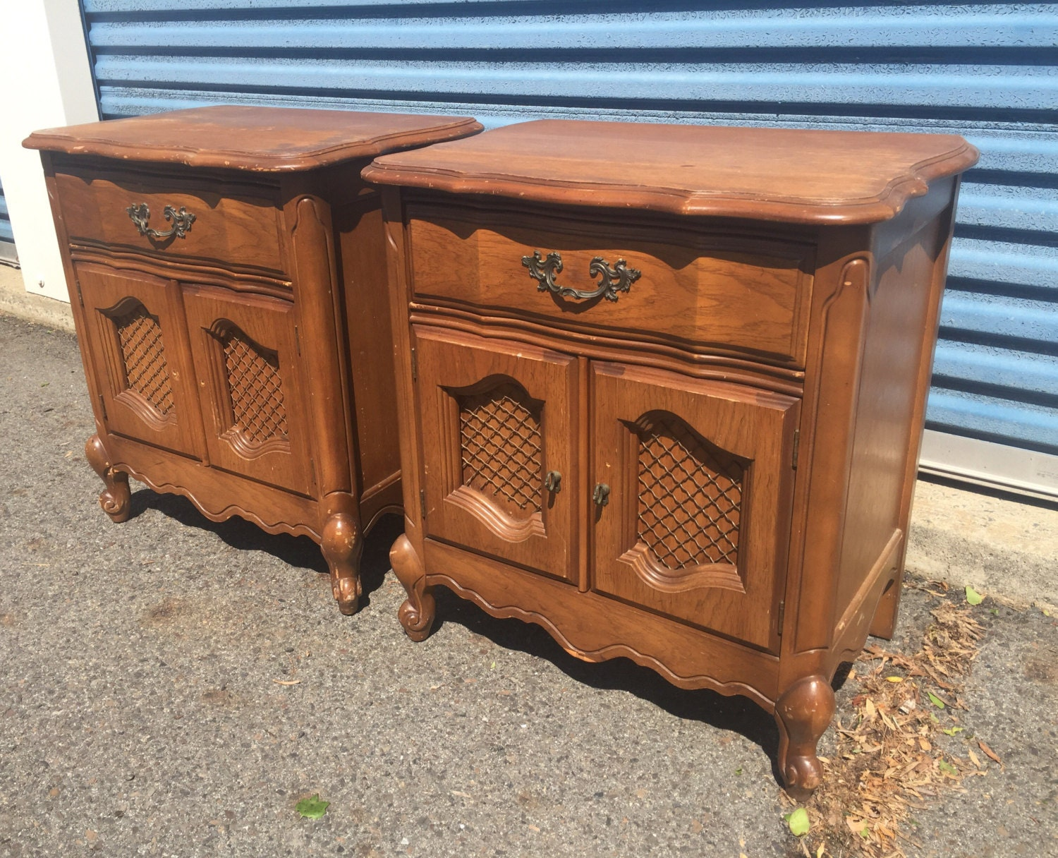 Pair Of Gorgeous Vintage Bassett French Provincial Nightstands