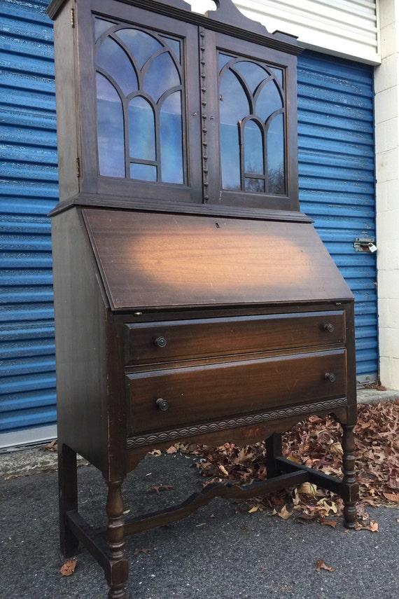 Vintage Tall Secretary Desk   Etsy