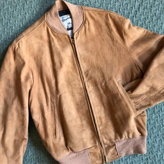Vintage 40s Jacket / Mens Suede Leather Bomber Fli