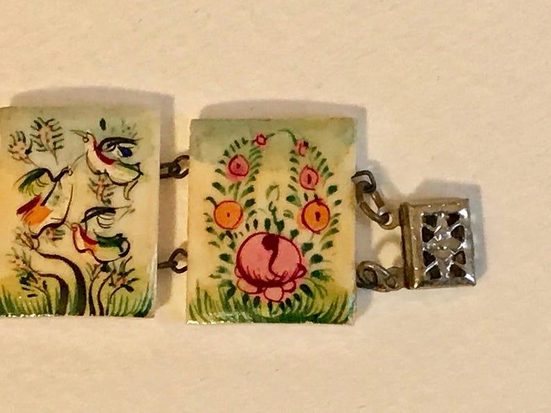 Hand Painted Antique Bone Tile Bracelet