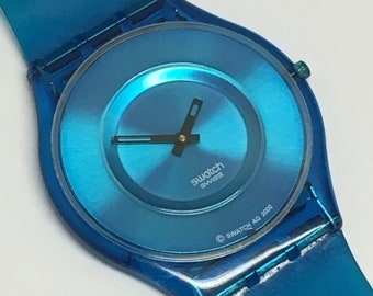 Skin Swatch Watch New Blue Jelly SFN107 Swatch Watch Thin Clear Gift