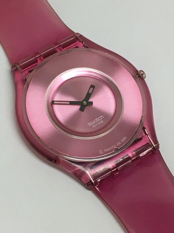 Vintage Skin Swatch Watch New Pink Jelly Sfp102 2001 Water Etsy