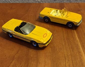 Set of two vintage Matchbox cars: Corvette (1987) and Mercedes (1973)