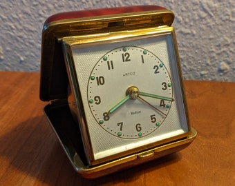 Artco Red Travel Alarm Clock Made in West Germany - Works!!