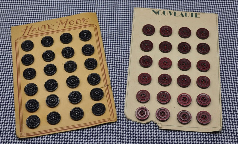 17mm 24 Charcoal Grey Antique French Card Plastic Buttons