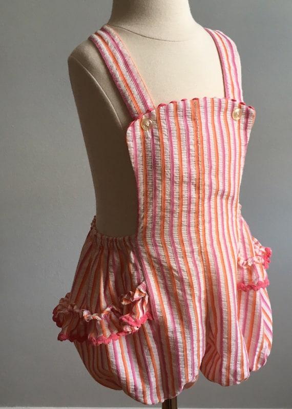 1950's Girl's Ruffled Seersucker Sunsuit