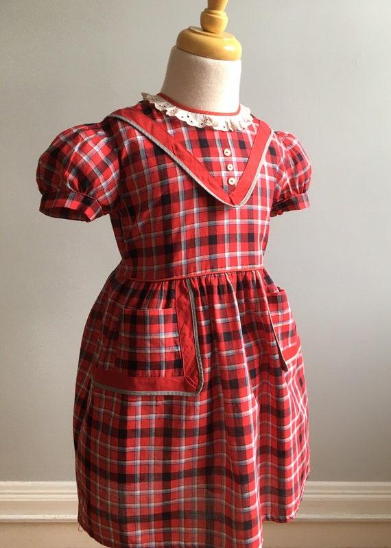 1950's Schoolgirl Homemade Plaid Dress