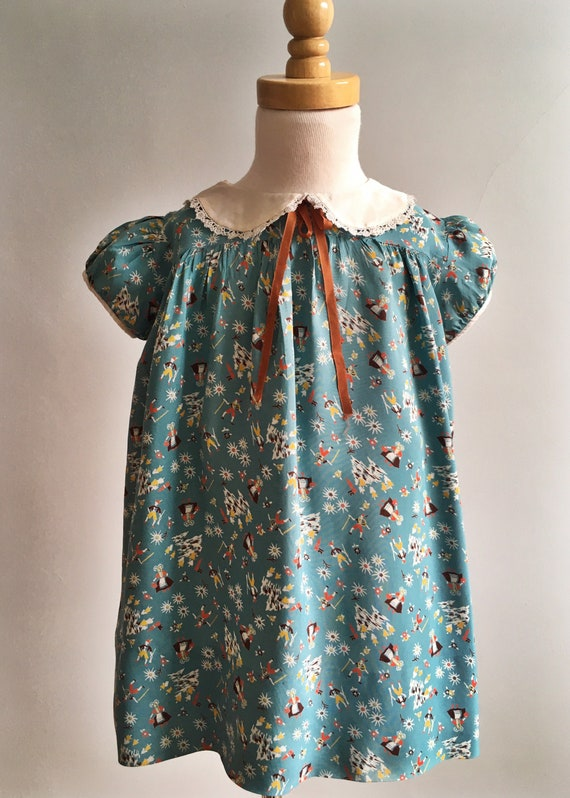 Vintage 30's Rayon Girl's Dress with Conversationa