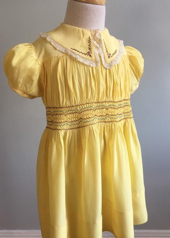 """Vintage 1940's """"Miller Frocks"""" Girl's Hand Smocked"""
