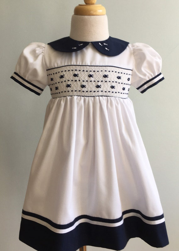 Vintage Girl's Hand Smocked and Embroidered Dress