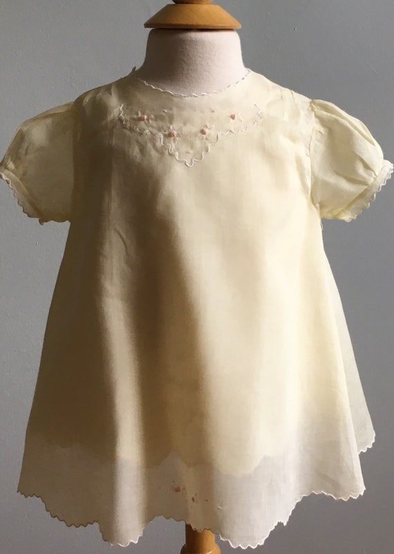 Vintage Girl's Pale Yellow Batiste Dress and Slip
