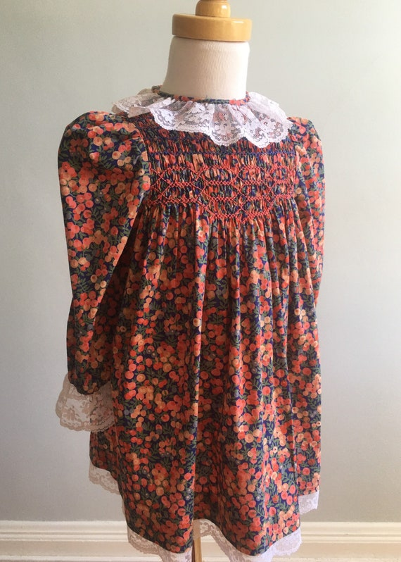 Vintage Girl's Hand Smocked Liberty Dress