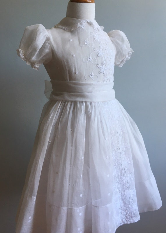 "Exquisite White Organdy Girl's Dress with ""L'Enfan"