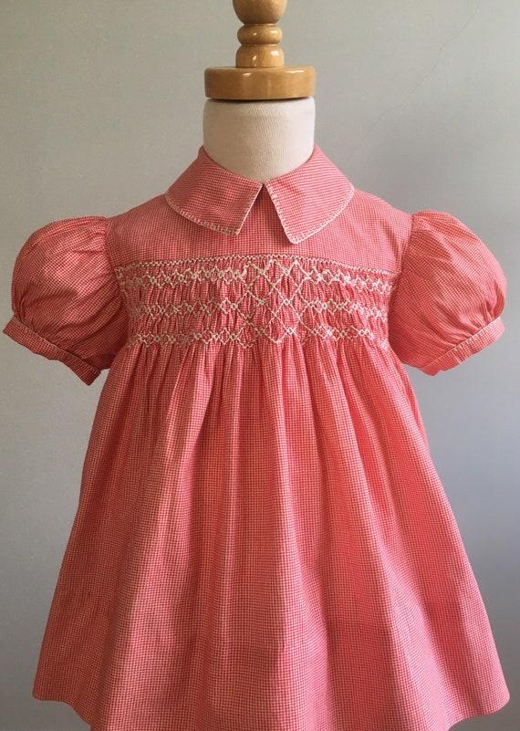 Vintage 50's Girl's Hand Smocked Gingham Dress