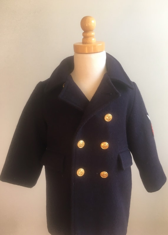 "Boy's Vintage ""Fieldston "" Navy Pea Coat"