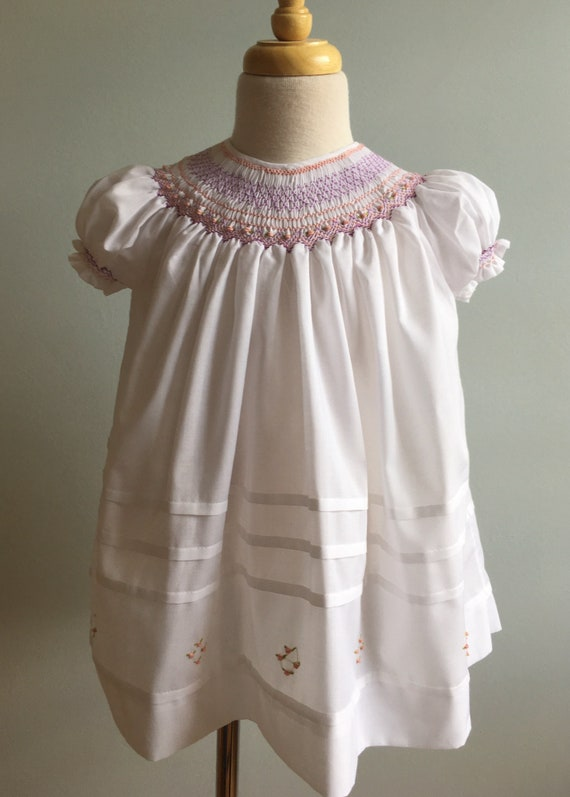 Vintage Bishop Style Handmade Hand Smocked Dress