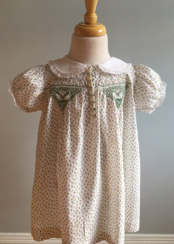 1930's Vintage Girl's Hand Smocked Dress